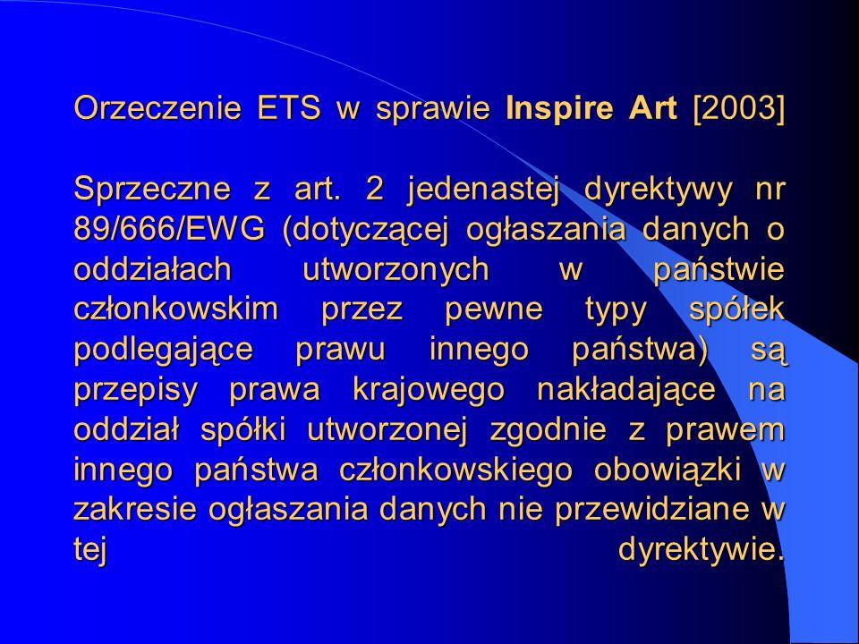 Orzeczenie ETS w sprawie Inspire Art [2003] Sprzeczne z art